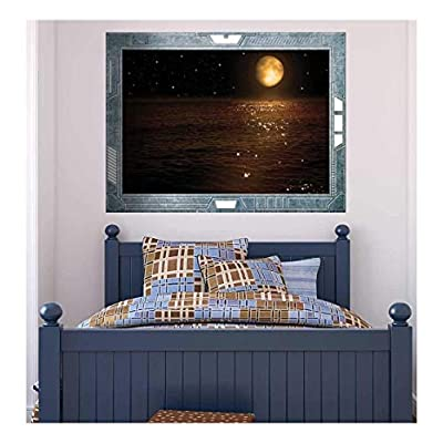 Fascinating Portrait, Science Fiction ViewPort Decal Peering at the Moon Hovering Over Calm Waters Wall Mural, Made With Love