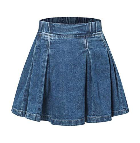 (Ameyda Kids Toddler and Little Girls' Denim Skirt, Flare A-Line Pleated Denim Skirt for Girls)