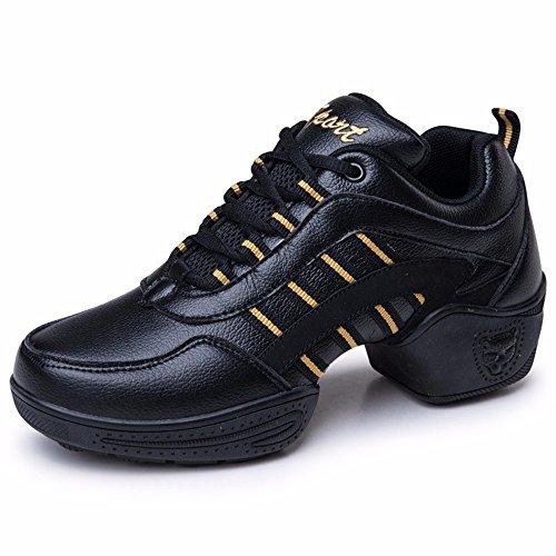 SQIAO-X- Scarpa danza quadrato di pelle scarpe da ballo morbida maglia di fondo danza moderna danza jazz Professional scarpe da ballo, nero,40