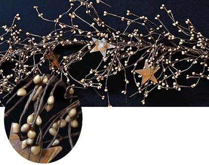 Pip Berry Garland with Rusty Stars - Teastain