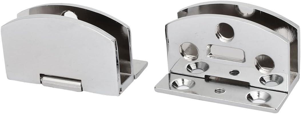 sourcingmap® Clip de cierre de Bisagras de metal tono plata para puerta de vidrio de 5mm-8mm de espesor 2pcs