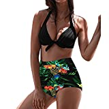 Women's Two Piece Tankini Sets Bandage Flounce Solid Swimsuits with Printed Boy Shorts Swimming Costumes