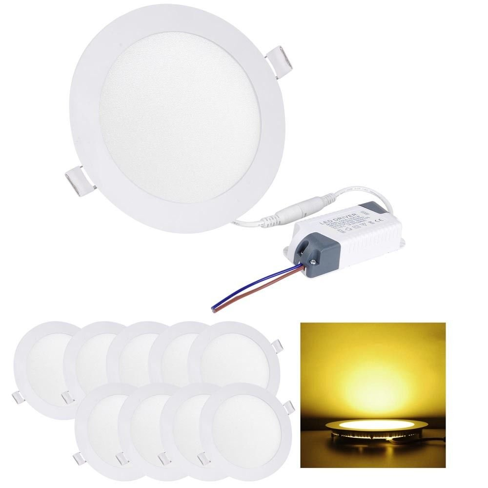 GHP 12W Warm White Acrylic Facemask w Aluminum Shell Round Ceiling Light by Globe House Products