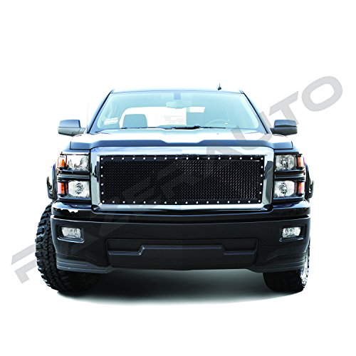 Putco 1500 Billet Grille (Razer Auto Triple Chrome Plated Outer Shell with Gloss Black Rivet Studded Frame Mesh Grille Complete Factory Replacement Grille Shell for 2014-2015 Chevy Silverado 1500)