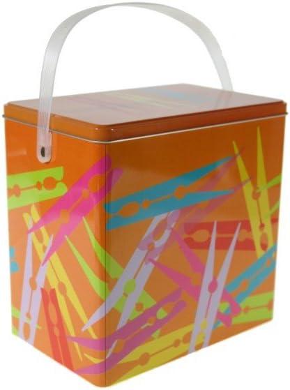 CAL FUSTER - Caja metálica para Pinzas Ropa Color Naranja. Medidas: 20x13x20 cm.: Amazon.es: Hogar