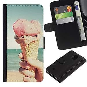 WonderWall (No Para S5) Fondo De Pantalla Imagen Diseño Cuero Voltear Ranura Tarjeta Funda Carcasa Cover Skin Case Tapa Para Samsung Galaxy S5 Mini, SM-G800 - playa de cono de helado rosado sol del verano
