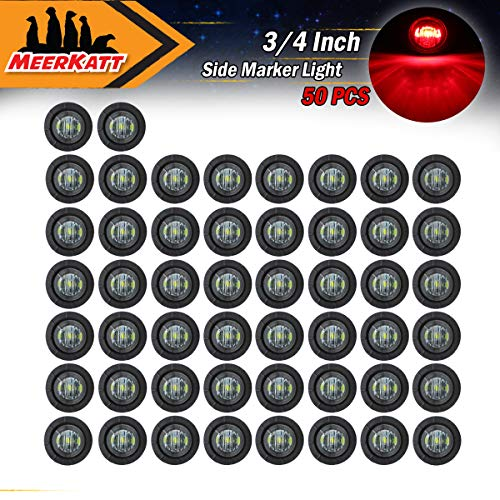 Meerkatt (Pack of 50) 3/4 Inch Small round Smoked Lens Red LED Sealed Miniature Side Marker Clearance Lamp Indicator Light Waterproof RV Boat Truck Trailer grommets 12V DC Flush Mount Hot Spot Kit
