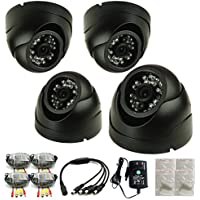 iSmart 4-Pack 800TVL 960H Color CCTV Security Dome Camera with 24pcs IR Leds Night Vision Up to 60ft, 3.6mm lens, C3010DP8x4 (Black)