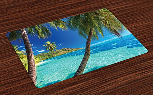 Ambesonne Ocean Place Mats Set of 4, Image of a Tropical Island with the Palm Trees and Clear Sea Beach Theme Print, Washable Fabric Placemats for Dining Room Kitchen Table Decor, Turquoise Blue (Place Ocean)