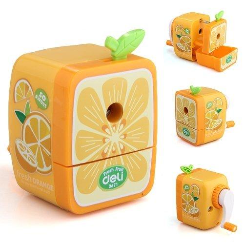 Domire Orange Pencil Sharpener Hand Crank Manual Animal Cartoon Desktop School Stationery Kids Students Gift ()
