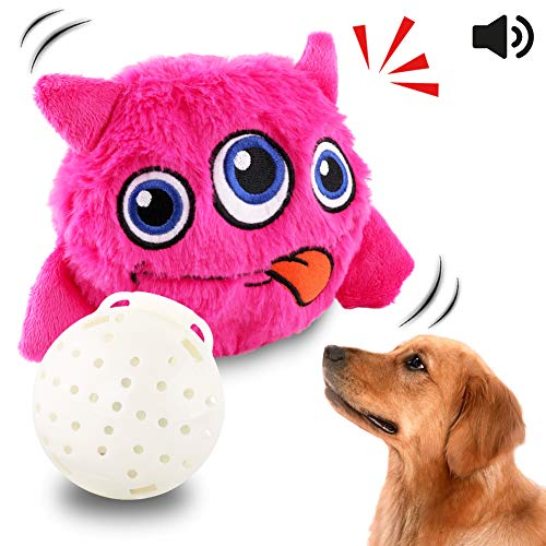Barking Dog Ball - Petbobi Upgrade Dog Toys Interactive Monster Plush Giggle Ball Shake Squeak Crazy Bouncer Toys Exercise Electronic Toy for Puppy Motorized Entertainment for Pets