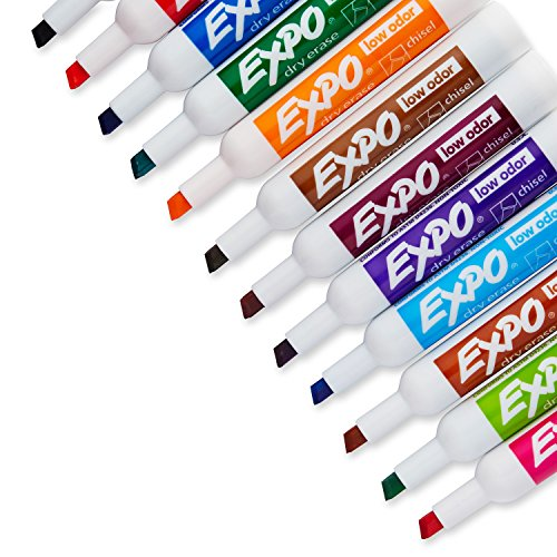 Large Product Image of EXPO Low Odor Dry Erase Markers, Chisel Tip, Assorted Colors, 12 Count