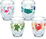 Tervis 1254511 Flamingo, Whale, Turtle, Crab Pattern Tumbler with Wrap 4 Pack 9oz Stemless Wine Glass, Clear