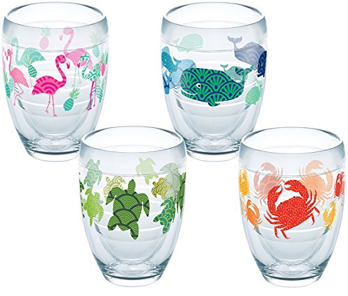 Tervis 1254511 Flamingo, Whale, Turtle, Crab Pattern Tumbler with Wrap 4 Pack 9oz Stemless Wine Glass, Clear For Sale
