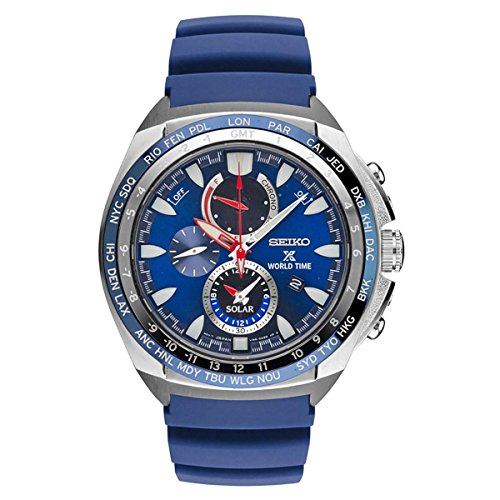 New Seiko SSC489 World Time Solar Chronograph Blue Rubber Strap Men's Watch