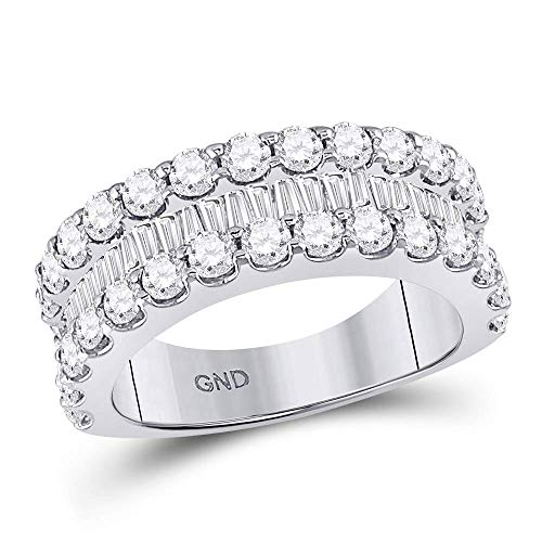 - Dazzlingrock Collection 14kt White Gold Womens Round Baguette Diamond Triple Row Band Ring 2-5/8 Cttw