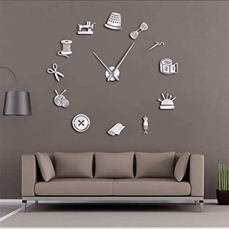 Mzdpp Tailor Shop DIY Reloj De Pared Modista Needlecraft Costurera Maniquí Máquina De Coser Aguja Barra
