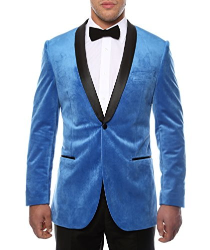 Velvet Blazer Vintage (Ferrecci Men's Enzo Royal Blue Velvet Slim Fit Shawl Lapel Tuxedo Blazer - 40R)