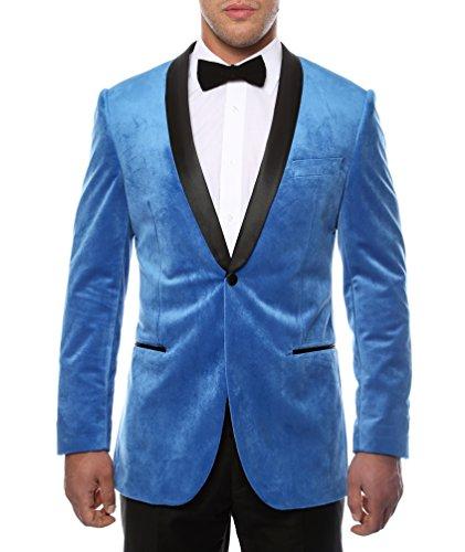 Ferrecci Men's Enzo Royal Blue Velvet Slim Fit Shawl Lapel Tuxedo Blazer - 44R for $<!--$79.00-->