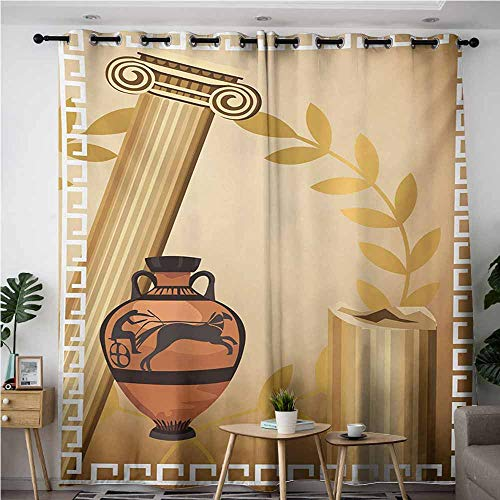 AndyTours Sliding Door Curtains,Toga Party,Antique Greek Columns Vase Olive Branch Hellenic Heritage Icons,Curtains for Living Room,W72x108L,Pale Brown Cinnamon White