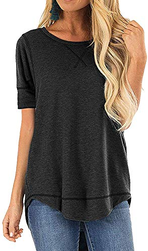 CIZITZZ Womens Tops Full Sleeve Tunic Tops for Leggings for Women Casual Loose Tunic Dark Grey M