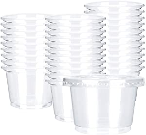 OTOR 8oz Hot/Cold Disposable Plastic Cups with Flat Lids - 50 Sets - Ice Cream Cups, Snack bowl, Take Away Food Container for Dessert Fast food Soup