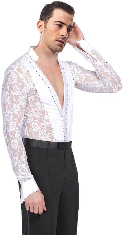 XFentech Hombres Cordón Translúcido Mangas Largas Latín Baile Camisa & Pantalones Actuación Ropa Escénica Disfraces Bailando Jazz Trajes, Blanco (Camisa), Tag S=EU XS: Amazon.es: Ropa y accesorios
