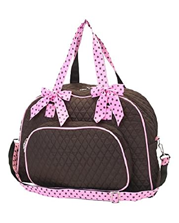 baa86f7da0 Amazon.com   Quilted Large Solid Overnight Duffle Bag   Double Strap -  Choice of Colors (Brown Pink)   Cosmetic Tote Bags   Beauty