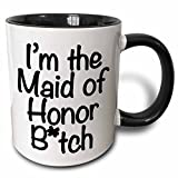 3dRose mug_178115_4 I'm The Maid of Honor Btch, Black Two Tone Black Mug, 11 oz, Black/White