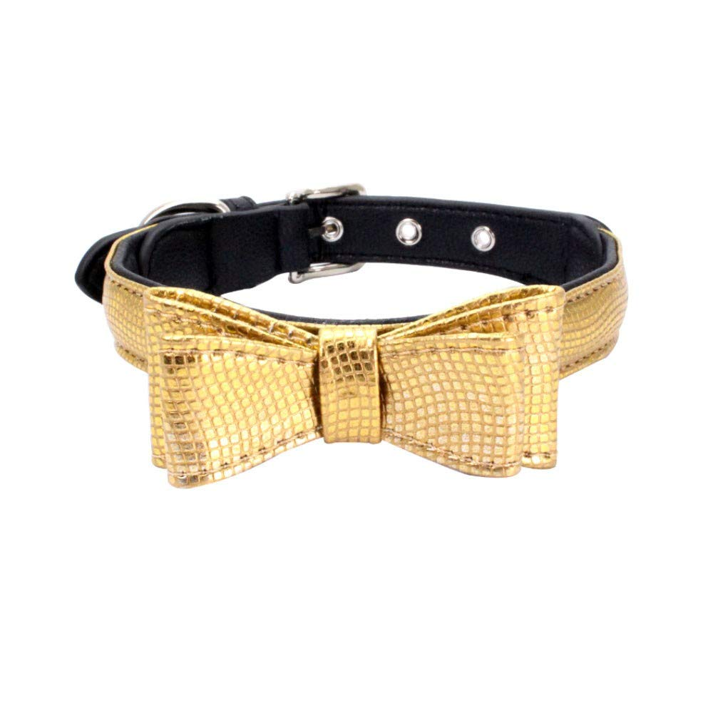 Exquisite Adjustable Small Dog Puppy Pet Collar Serpentin Shape Printed Bow Pet Necklace Neck Strap Collar Cute Puppy Choker Cat Necklace Imitation Leather Outdoor Collar Dress Up (Gold, S)