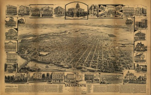 Historic Panoramic Map Reprint: Sacramento. 36 x 24