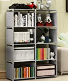 Multi-Function Book Shelf, Double Row 4-Tier Bookshelf Bookcase with 8-Cube Shelves, Simple Assembly Storage Organizer…