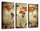 Canvas Wall Art World Map, 3 Pieces Large Modern Old Map Painting Vintage Artwork Contemporary Wall Decor Travel Memory for Home Office Decoration Framed Ready to Hang
