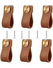 Lederen handgrepen, 6 stuks handgemaakte meubelgrepen van lederen meubelgrepen creatief modern leer voor kastdeuren, laden, deurgrepen, lederen handgrepen, meubels
