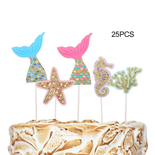 Efivs Arts 25 Pcs Mermaid Tail Starfish Seahorse Cake Cupcake Topper for Baby Shower Kids Birthday Party Themed Party Decorations