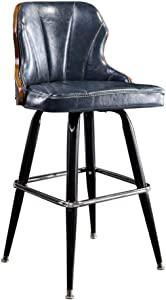 Bar Stools with Backrest Swivel High Stool Faux Leather Dinning Chair Upholstered Seat Barstools 28 Inch Height for Bistro Pub Dining Room Kitchen Furniture