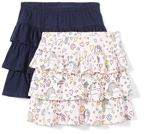 (Spotted Zebra Big Girls' 2-Pack Knit Ruffle Scooter Skirts, Unicorn/Navy, Medium (8))