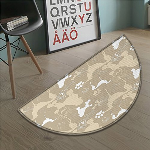 stevenhome Dog Lover Half round doormat outside Pet Animals Accessories Leash Paw Print Bone Ornamental Abstract Illustration Bathroom Mat for tub Non Slip Tan (Polypropylene Pet Leash)