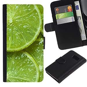 Planetar® Modelo colorido cuero carpeta tirón caso cubierta piel Holster Funda protección Para Samsung Galaxy S6 / SM-G920 ( Green Fresh Fruit Clean Spring Minimalist )
