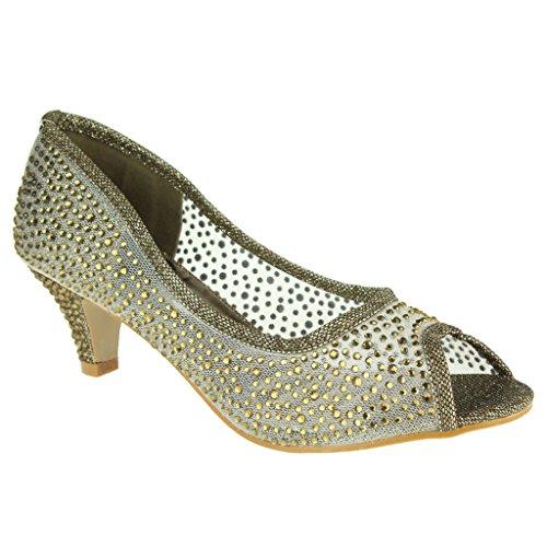 Mujer Señoras Malla diamante Peep Toe Noche Boda Nupcial Fiesta Paseo Tacones medianos Zapatillas Sandalias Zapatos Talla Marrón