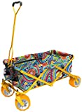Creative Outdoor Distributor All-Terrain Folding Wagon, (Paisley/Yellow) - Divider Included - Multipurpose Cart for Gardening, Camping, Beach Trips, and Travelling