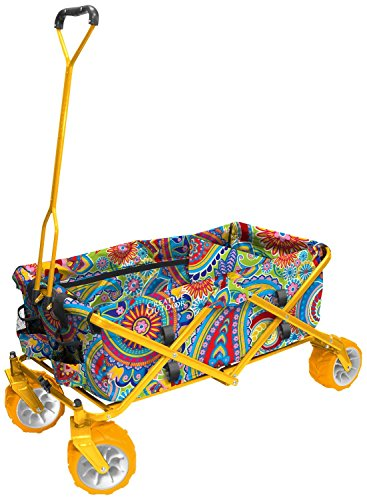 Creative Outdoor Distributor All-Terrain Folding Wagon, (Paisley/Yellow) - - Step 2 Wagon With Canopy