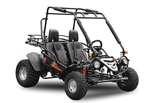 Maxi Buggy 200cc Ölgekühlt E-Start Automatik CVT mit Rückwärtsgang Offroad Quad ATV Bike Midi (Schwarz)