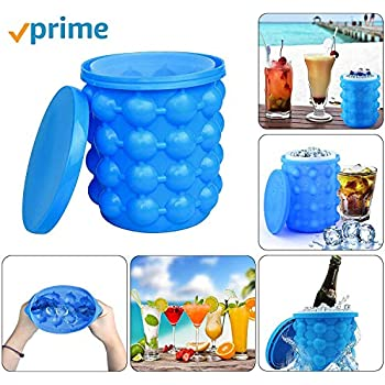 Large Silicone Ice Bucket & Ice Mold with lid,(2 in 1) Space Saving Ice Cube Maker,Silicon Ice Cube Maker Besmon, Portable Silicon Ice Cube Maker