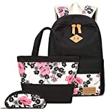 MIYA LTD Canvas School Backpack Tote Bag,Bookbags School Backpack Laptop Schoolbag Set 3 Pieces Lightweight Teen Girls Sholder Bag Pencil Case - Floral
