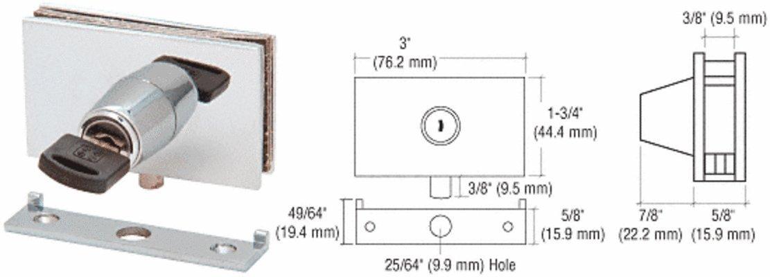C.R. LAURENCE EH102KA CRL Chrome Square Plunger Lock with Strike - Keyed Alike