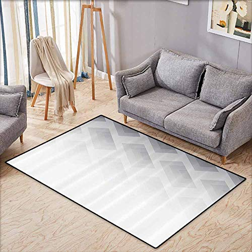 (Room Bedroom Floor Rug Grey Blur Poster Display with Simplistic Square Shapes Contemporary Optic Illusion Print Cloud White Easy to Clean W5'2 xL4'6)