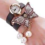 Duoya Women's Crystal Butterfly Watch Wrap Around Leather Band D008