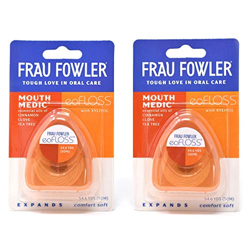 - NEW eoFLOSS- Woven Expanding Dental Floss Cinnamon 2 Pack, Infused with Organic Essential Oils & Xylitol by FRAU FOWLER, 50m (54.6yds) each