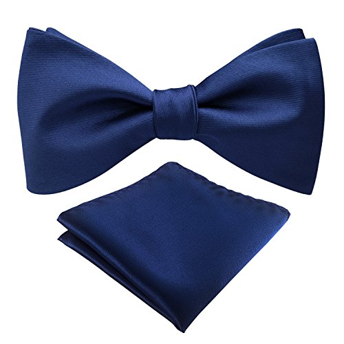 Mens Classic Solid Color Adjustable Bowtie Satin Formal Tuxedo Bow Tie Pocket Square Tie Set (Navy)